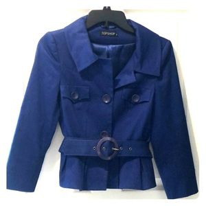 Small Topshop royal blue 3/4 sleeve belted jacket